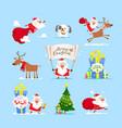 christmas santa claus set vector image