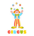 circus clown juggler isolated on the white vector image