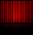 closed red theater curtain with reflection in vector image vector image