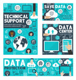 cloud data storage and technical support banner vector image