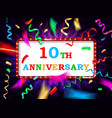 colorful 10 date celebration background vector image vector image