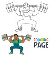 coloring page with weightlifting player cartoon vector image vector image