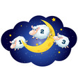 counting sheeps at night on white background vector image