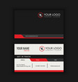 creative and clean business card template black vector image vector image