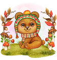cute watercolor bear baby vector image