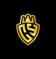 cy monogram logo with shield and crown style vector image vector image