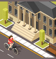 cyclist isometric background vector image