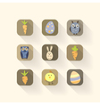 Easter icons set with long shadows vector image