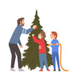 father and his two sons decorating christmas tree vector image vector image