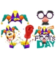 Fools cap smile on spring Funny glasses nose vector image vector image