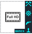 full hd icon flat vector image vector image