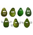 Funny green avocado fruits cartoon vector image vector image