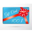 gift vouchers with bow red ribbons and blue vector image vector image
