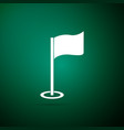 golf flag icon isolated on green background vector image vector image