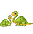 Happy mother with baby dinosaur posing isolated vector image vector image