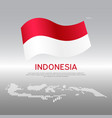 indonesia wavy flag and mosaic map on light