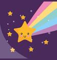 kawaii star rainbow night weather vector image vector image