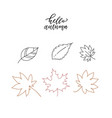 linear doodle hello autumn set linear leaves set vector image vector image