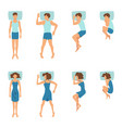 male and female in sleeping poses top view vector image