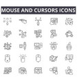 mouse and cursors line icons signs set vector image vector image