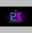 neon lights alphabet pz p z letter logo icon vector image vector image