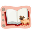 Open book and a pet dog vector image vector image