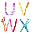 paint splash font UVWX vector image vector image