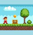 pixel-game ninja male character pixelated natural vector image vector image