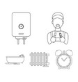 plumber boiler and other equipmentplumbing set vector image vector image
