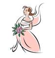 Pretty feminine bride or bridesmaid in pink dress vector image vector image