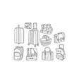 set of hand drawn bags and luggage picnic vector image