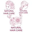 Set of natural hair care logos vector image vector image