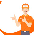 smat delivery staf man in orange uniform vector image vector image