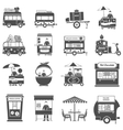 Street Food Black White Icons Set vector image vector image