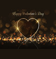 valentines day background with gold heart on vector image vector image