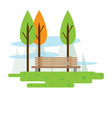 view of a public park with trees and a bench vector image