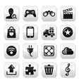 Web internet grey buttons set vector image vector image