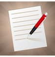 White note and red pen vector image