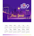 2019 calendar night city vector image