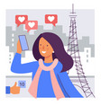 a girl takes selfie against background vector image