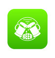 best glass beer icon green vector image