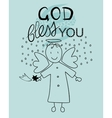 Bible lettering God bless you and little angel vector image vector image