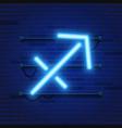 blue shining cosmic neon zodiac sagittarius symbol vector image