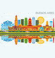 buenos aires skyline with color landmarks blue vector image vector image