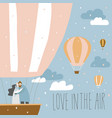 cartoon couple in love in hot air balloon vector image