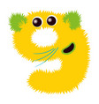 cartoon cute yellow and green monster number nine vector image vector image