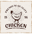 chicken farm fresh product emblem vector image vector image