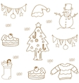 Christmas doodle set flat vector image