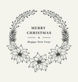 christmas floral wreath elegant christmas frame vector image