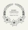 christmas floral wreath elegant christmas frame vector image vector image